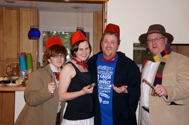 Casey as the Eleventh Doctor, Dr. Jennifer Hennigan, Sean, and me as the Fourth Doctor.