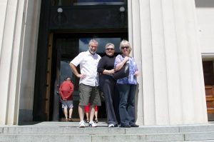 On the steps of the Auckland museum with Sherry, Alex, and Grant.