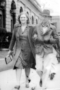 My mother and father in downtown Shreveport during World War II